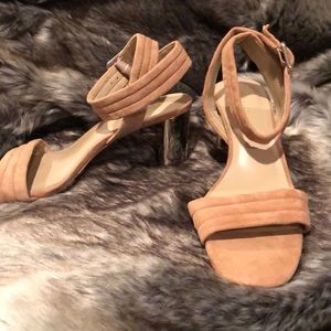 Ann Taylor beige suede leather ankle strap sandals